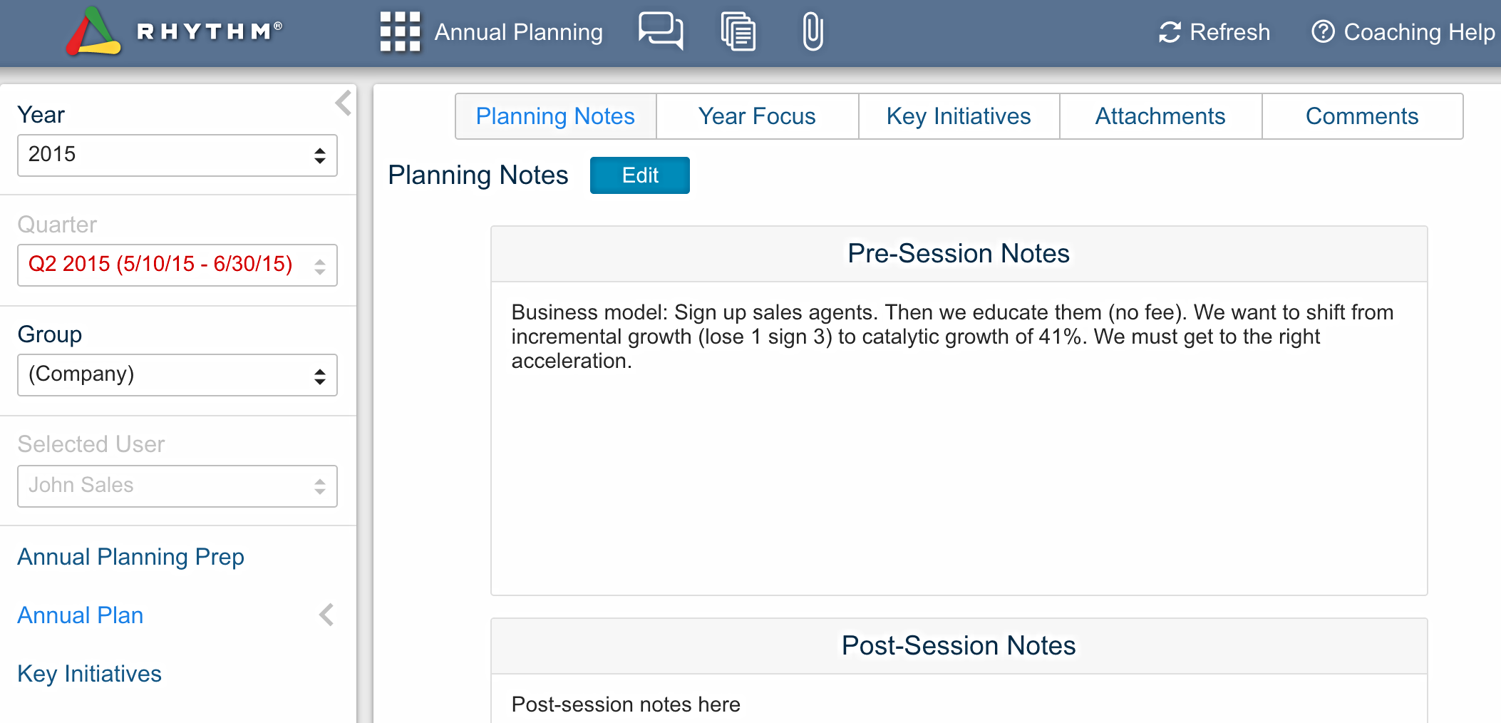 Annual Planning: Pre-Planning session notes in Rhythm software