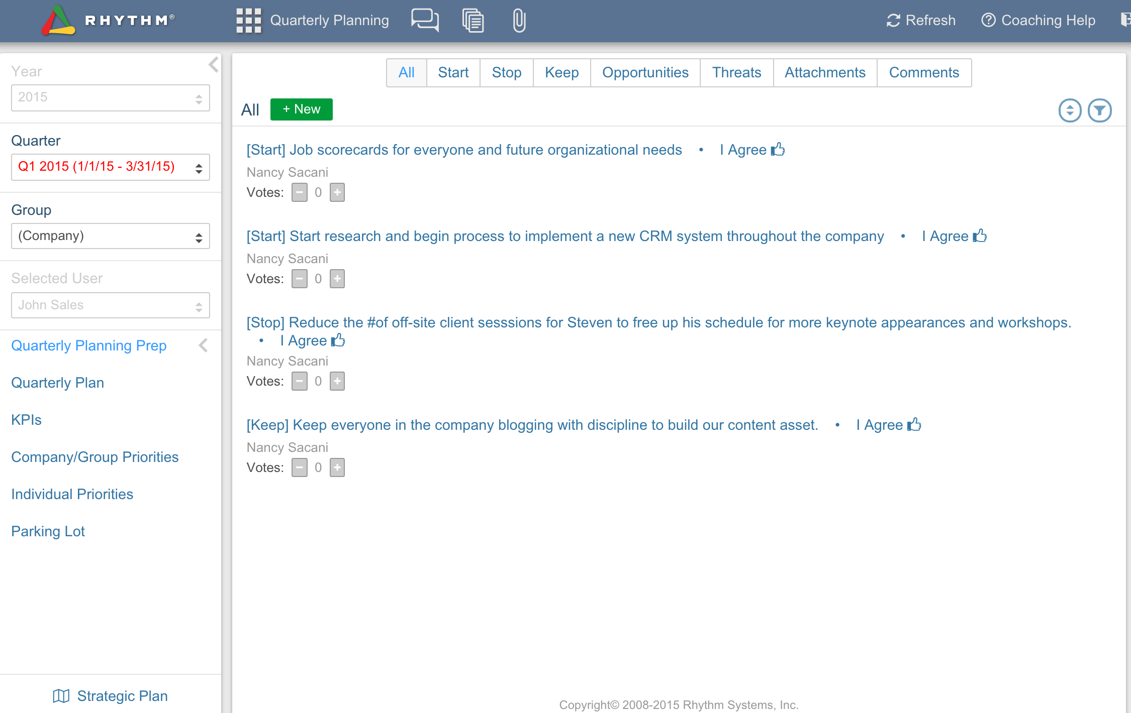 Rhythm software: Quarterly Planning screen