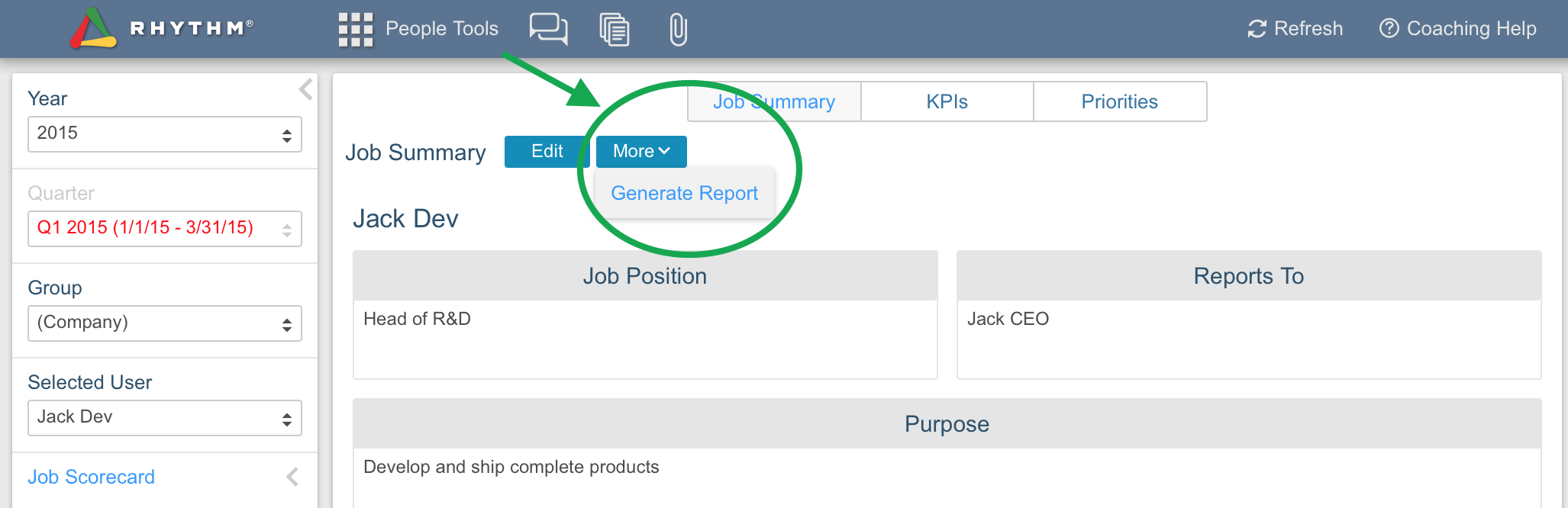 Generate reports on how your employees are doing in the Rhythm people software tool